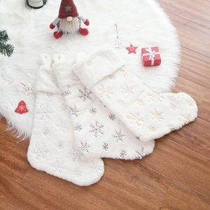 Piel de imitación medias navideñas bolsa de regalo caramelo copos de nieve calcetines colgando árbol de navidad