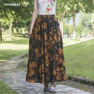 TIYIHAILEY Free Shipping 2020 New Fashion Long Maxi A-line Elastic Waist Women Cotton And Linen Print Flower Brown Spring Skirts