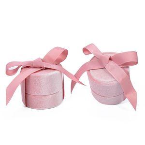 المخملية جولة bowknot مجوهرات هدية مربع ل حفل زفاف خاتم خاتم قلادة قلادة التعبئة والتغليف عرض القضية EEF3540