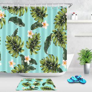 Las plantas tropicales de hoja verde Baño Ducha Hojas de cortina cortinas de ducha durable de tela impermeable Inicio Sala de cortina