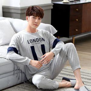 2020 New Spring Autumn Cotton Long Sleeve Pajama Set for Men Sleepwear High Quality Male Loungewear Pyjama Homewear Home Clothes Q1202