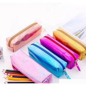 iridescent laser pencil case quality pu school supplies stationery gift pencilcase school cute pencil box school tools lx8768 uT9a0