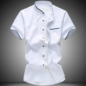Men's Summer Big Size Oxford Fabric Business Casual Short Sleeve Shirt Male Solid Color Fashion Brand Blouses 4XL 5XL