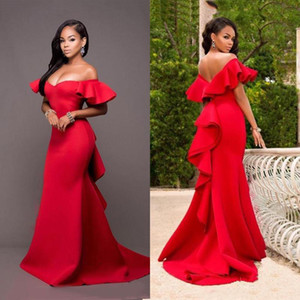 Custom Made Red Off Shoulder Mermaid Evening Gowns Short Sleeves Floor Length Satin Long Plus Size Bridesmaid Dresses