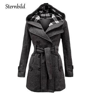 Damenjacken Wintermode Wollmantel Frauen Warme Beiläufige Kapuzenjacke für doppelbrechende Erbsen Outwear Weibliche dicke Mäntel solide S-3XL