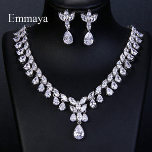 Emmaya Luxury Sparking Brilliant Cubic Zircon Drop Earring Necklace Jewelry Set Wedding Bridal Dress Accessories Party Q1123