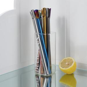 Cuillère en forme de paille réutilisable 304 en acier inoxydable paille de paille de paille de paille pour smoothies Tapioca Perles Miltre Bubble Tea CCD3513
