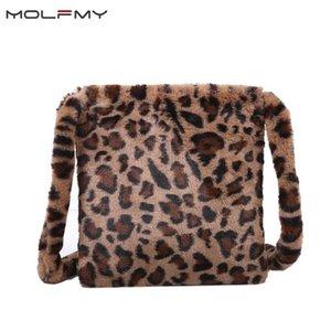 Women's Bag Winter Faux Fur Clutch Wallet Edema Fashion Handbag Leopard Mesh Ladies Bolsa Femme Tote 2020 Suede Keatv