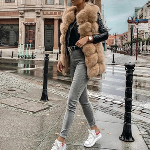 Plus Size Fur Coat Women Sleeveless Vest Black Red Grey Green Pink Blue Fur Jackets Winter Outerwear Women Clothing 3Xl 4Xl