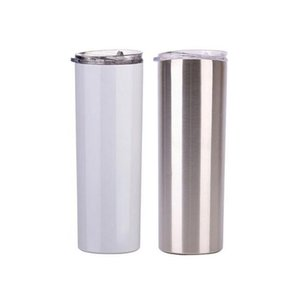 DIY Heat Sublimation Skinny Tumbler 20oz Stainless Steel slim Insulated Tumbler Straight Cup white Beer Coffee Mugs DHF2363