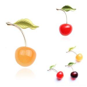 Acessórios OzeAQ Cicada Broche Cristal Vestido Inseto Broches Pins Cherry Mulheres Esmalte Esmalte Colorido Pequeno Esmalte Fresh Fashion Cherry