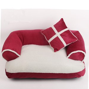 Luxury Double-Cushion Pet Dog Sofa Beds With Pillow Detachable Wash Soft Fleece Bed Warm Small Dog Bed NWD3178