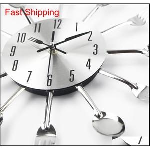 2017 Nuevo Moderno Cocina Reloj de Pared Sliver Cubiertos Relojes Cuchara Fork Creative Wall Pegatinas Mecanismo Ifm DH_Seller2010