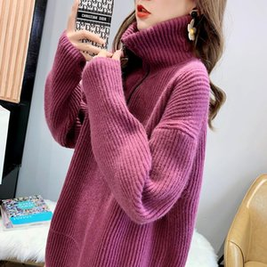 Hsa Women Oversized Sweater and Long Pullovers Turtleneck Knitted Pull Sweates Large Size Pure Color Vintage Sweater Jumper