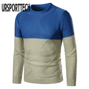 URSPORTTECH Sweater Men Pullover Solid Color O-neck Geometry Slim Sweaters Men 2020 Autumn Knitted Sweater Jumper Pull Homme 2XL