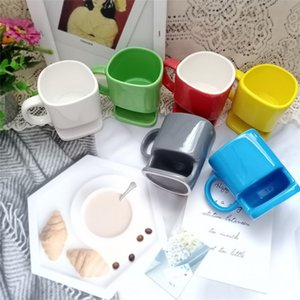 1PSC 350ml Ceramic Mug White Coffee Tea Biscuits Milk cookie Dessert Cup Tea Cup Side Cookie Pockets Holder For Home Office