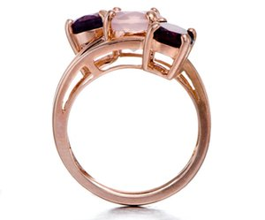 Wholesale-Rose Gold Over Silver Ring Classic 3-stone Rose Quartz, Amethyst, Garnet Gemstone Fine Jewelry