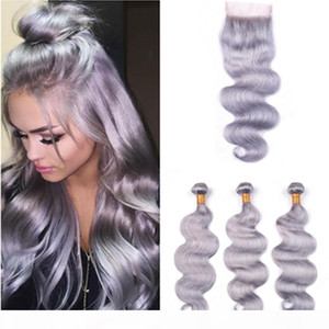 Pure Grey Peruvian Hair Bundles with Closure Silver Grey Body Wave Human Hair Weaves 3Bundles with Lace Closure 4x4 Grey Color Hair Wefts