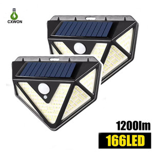 166LEDs Solar Lights Outdoor Human Boday Sensor LED Street Lights 270 Wide Angle 1200LM Solar Lamps for Garden Yard Path