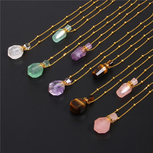 Perfume ing Bottle Pendants Necklace For Women Natural Stone Oil Diffuser Choker Gold Chain Chakra Necklace Women Amulet Y1130