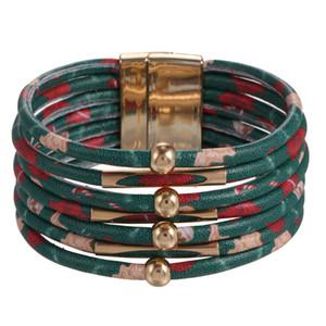2020 European and American Christmas Gift Magnet Clasp Leather Bracelets Santa Snowman Print Bracelet Christmas Hot Bracelet