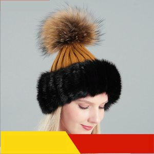 Beanie Skull Caps Autumn And Winter Ladies Hair Acrylic Knitted Warm Hat. Raccoon Dog Fur Ball Fashionable Hat