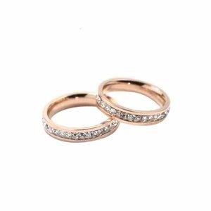 Дизайн Ювелирные Изделия Мужчины / Женщины Full CZ Diamond Love Gold 3 Цвет Пара Кольца Титана Сталь Топ Качество Полированный Любовник Кольца Бесплатная Доставка