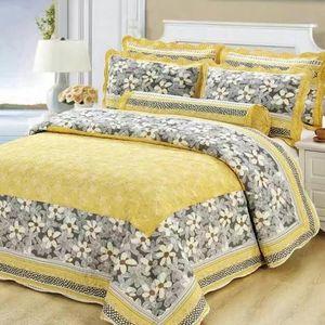 3 unids Hecho a mano Edredón de algodón conjunto American Style acolchado acolchado Patchwork Ropa de cama Edredones Conjunto Floral Impreso Casa de cama Cubiertas
