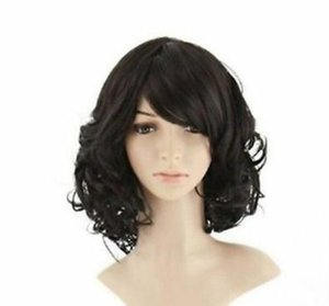 100% real hair wig short hair female curly wavy lady hair cosplay party full wig