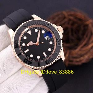 고급 시계 고무 세라믹 베젤 자동 Mechinacal 로즈 골드 블랙 다이얼 손목 시계 한정판 비즈니스 42mm 망 시계