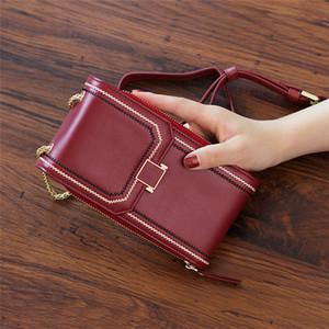 HPP Women Card Holders Cowskin Leather Pelle Mobile Phone Bag Womens Portafogli Black Organize Borse da imballaggio Borse a strisce Telefono cellulare HASP 17.5 cm