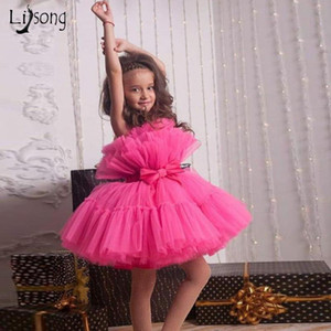 Cute Fuchsia Puffy Tutu Short Christmas Kids Dresses To Birthday New Year Party Tulle Flower Girl Dress Pageant Girls Dresses