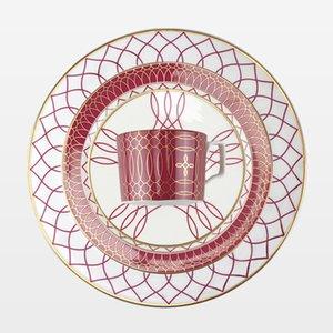 Steak Plate Наборы Керамическая Кость Китай Установите посуды Свадебная плита Отель Плита Кофейная Чашка и блюдце