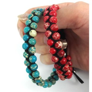 KEJIALAI 2020 New Design Handmade Macrame Bracelet Double 6MM Sea Sediment Stone Beads Braiding Bracelet Men Women Jewelry Gift