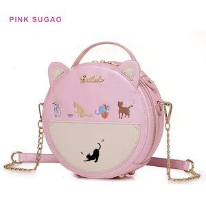 Pink sugao designer handbags new style women shoulder bag cute crossbody bags flower-printed purses and handbag pu leather wholesales