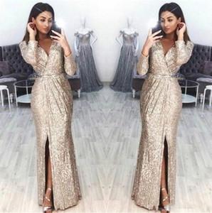 Sparkling Long Sleeves Sequins Evening Dresses 2020 V Neck Pleats High Split Floor Length Formal Party Prom Gowns