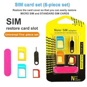 جديد 5 في 1 محول بطاقة SIM نانو مايكرو سيم بطاقة محول محول أدوات كيت لسامسونج هواوي العالمي بطاقة سيم إبرة مع صندوق البيع بالتجزئة