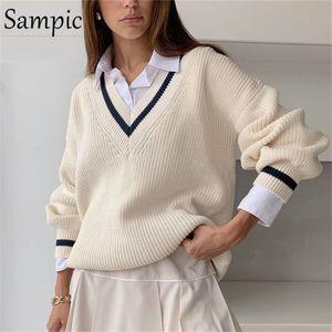 Sampic Winter Frauen Koreaner Preppy Style Gestrickte Basic Pullover Langarm Beige Casual Pullover Jumper Tops Oberbekleidung