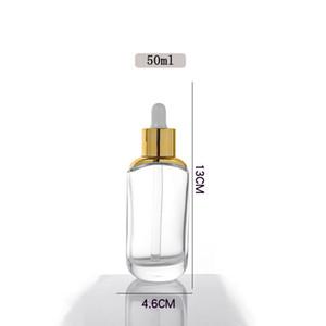 Плоские круглые прозрачные стекла Эфирное маслофюмерные флаконы Жидкие Реагенты Пипетка Капельница Бутылка 15 мл 30 мл 50 мл Серебро / Золотая Cap DHD3806