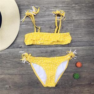 Girls Bikinis 2019 Tassel Children Kids Swimsuit Swimwear Falbala Bandage Bikini set Print Bathing Suit Biquini Infantil A3501