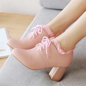 Hot Sale-Women Block Heel Pumps High Heels Lace up Ladies Shoes Round Toe Pink White Dress Pumps Elegant Work Shoes Plus