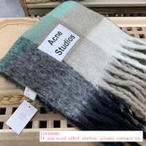 Brand Acne Studios high quality 4 color Wool scarf new rainbow grid fringed shawl for male and female