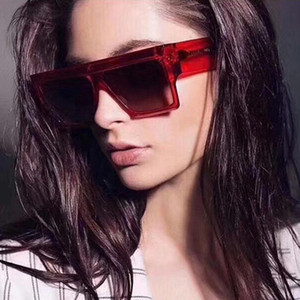 2020 new square women sunglasses brand designer big frame fashion red transparent sun glasses vintage uv400 gafas de sol mujer
