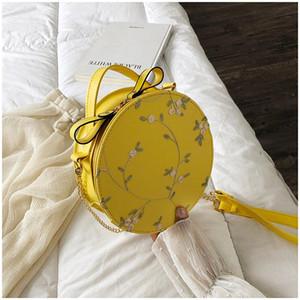 PUIMENTIUA Dolce pizzo borse rotonde di alta qualità in pelle di alta qualità donne borse a tracolla femmina piccola catena di fiori freschi