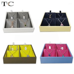 PU Velvet Jewelry Mostrar caja Collar Colgante Pantalla Pantalla Portátil Pendientes Pendientes Pendientes Pendientes Colores de caramelo Caja de almacenamiento1