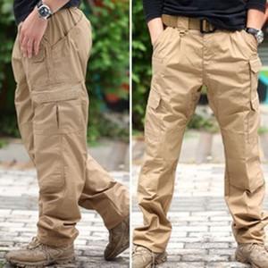 Tela de tela escocesa repelente de agua Ripstop Tactical Pantalones de entrenamiento al aire libre Senderismo impermeable suelto bolsillo recto Monos pantalones