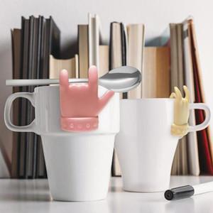 Tea Bag Shelf Cute Finger Shape Silicone Cup Mug Spoon Holder Tea Bag Clip Candy Colors Good Teas Tools Tea Infuser ZYY479