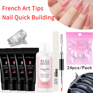 6pc / Set Set de bâtiment rapide GEL ACRYLIC GEL EXTENSION DUGINE DOINGURE MANUCRES ACRYL Gel Polonais Vernis Rose Nail Art Moule Conseils CH1809-3