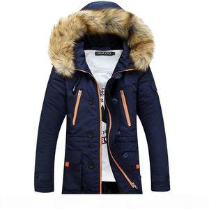 Lasperal Winter Autum Men Long Sleeve Zipper Hooded Overcoat Jacket Fashion Plus Size Jacket Thicken Big Fur Collar Parka