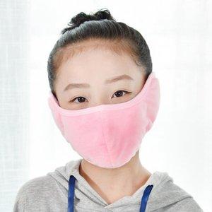 2 in 1 çocuk unisex ağız muffle moda earmuffs maskeleri toz geçirmez yüz maskesi açık kış sıcak rüzgar geçirmez yarım maske YYA574